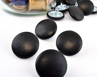 Size 45L Leather BUTTONS 1-1/8 Inch, 28 mm, #45 Ligne QTY: sets of (2)-(4)-(6)-(8)-(10)-(12) Shank Black Dk Brown Gray, Genuine Hide, Sewing