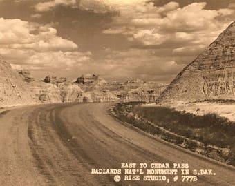 Badlands National Monumemnt South Dakota Black and White Post Card Very Nice Condition