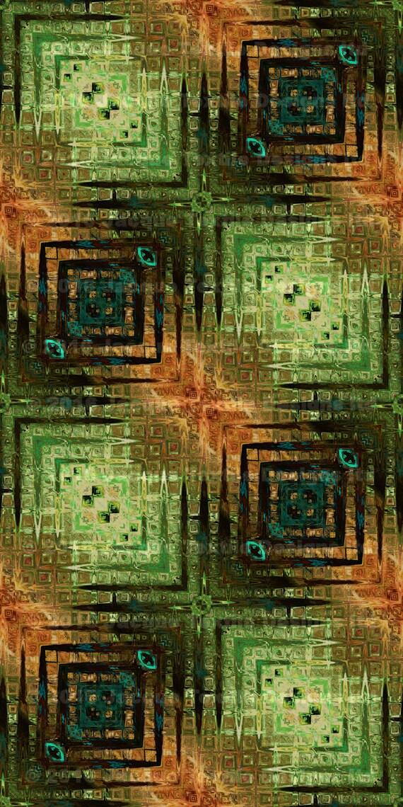 Maze Green Artisan Made Sateen Cotton Textile Fabric Vibrant Home Decor Drapery Pillows
