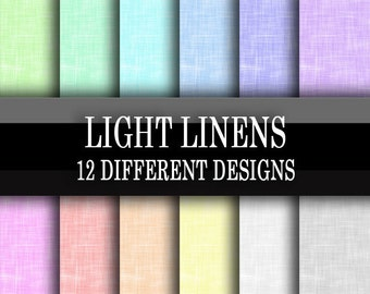 Scrapbook Paper - Digital Download - Light Linen Printable Scrapbooking Papers - Light Pastel Shades - 6 x 6 Inch Sheets