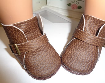 Textured Brown Boots  -Slip on Ankle Boots--for 18 Inch dolls--