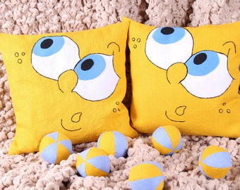 Yellow Linen pillow cover Baby-Decorative Pillow Case-Embroidered Face pillowcase-Baby Cushion Pillow-Baby Schower Gift-Personalized Pillows