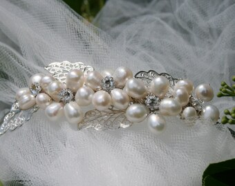 Freshwater Pearl Tiara\Bridal Tiara\Ivory Pearl head piece\Ivory Freshwater Pearl and Rhinestone Wreath\Wedding Jewelry\Bridal accessories