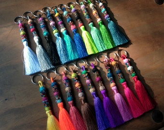 Tassel Keychain, Beaded Silk Tassel Key Chain, Decorative Tassel Keyring, Wholesale Accessories,Zipper Pull,Gift for All Assorted Colors 10+