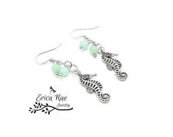 Sea horse charm earrings, amazonite gemstone earrings, beach earrings, beach jewelry, sea horse jewelry, nautical jewelry, hypoallergenic