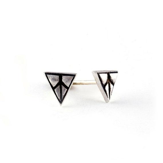 Peace Sign Earrings, Small Stud Earrings, Unisex Earrings
