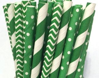2.85 US Shipping -St. Patrick's Day Paper Straws - Christmas straws - Green straws - Cake Pop Sticks - Drinking Straws