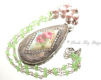 Rose Necklace Broken China Floral Pattern Soldered Pink Roses Flower Pendant