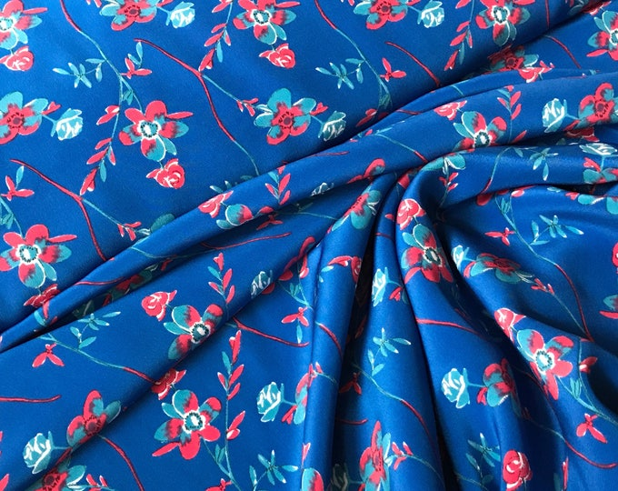 Sweet Floral Crepe de Chine in Blue / Berry Pink / Ocean Blue  - Thakoon / Designer Closeout - Silk Crepe de Chine Fabric