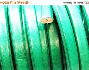 On Sale NOW 25%OFF 10x6mm Wire Core Licorice Leather Cord  - Green - 7.5 Inch