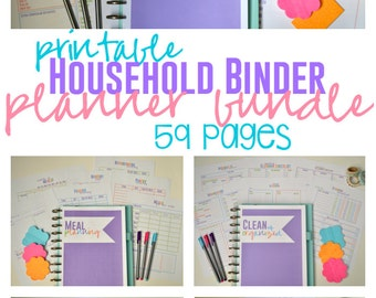 Household Binder Bundle, Home Management Binder, Printable Planners, Household Planner, 59 Pages, Instant Download, Editable