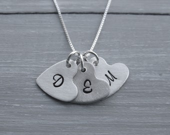 Heart Necklace Initial Necklace Hand Stamped Sterling Silver Initial Charm Personalized Jewelry Letter Jewelry Initial Jewelry Heart Charm