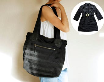 Upcycled bag, recycled bag, repurposed bag, upcycled purse, personalized tote, memory bag, keepsake bag, everyday bag, zippered tote bag