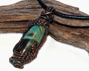 Ceramic Art Bead Wrapped in Copper Wire Cage, Caged Bead Pendant, Handmade Jewelry, Wire Wrapped Blue with Dark Brown Cylindrical Bead