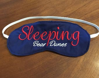 "Kids womens mens custom sleep mask ""Sleeping Bear Dunes"" Up North Michigan sleepmask"