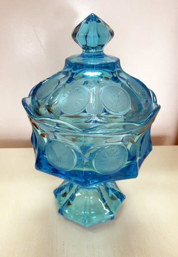 Fostoria Blue Coin Glass footed bowl with lid