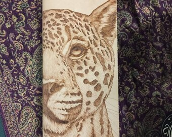 Refillable Leather Journal with Burned Leopard Design