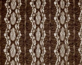 Lace fabric elastic 464365 in dark brown
