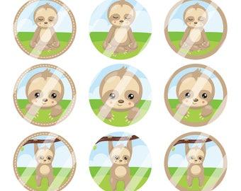 INSTANT DOWNLOAD / Sloths / Brown, Green, Light Blue / Digital Bottle Cap Image Sheet / 1 Inch Circles / 4x6 Collage Sheet /# BC153