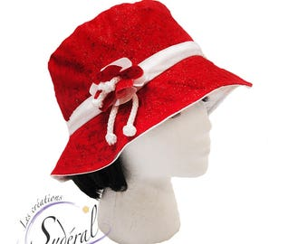 Ladies summer red and white coton hat, beach hat, travel hat, women summer hat, sun hat,