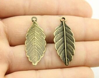 10 pcs Detailed Leaf Copper Charm, Copper Pendant - PD041