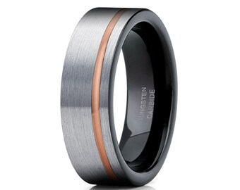Grey Tungsten Wedding Band,Rose  Gold Tungsten Carbide Ring,Men & Women,Black Wedding Band,Engagement Ring,Brush