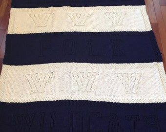 Villanova Wildcats, Knit Blanket, Baby Shower Gift, Graduation Gift, Baby Blanket, Sorority, Monogram, Customized, Personalize, Knit Baby