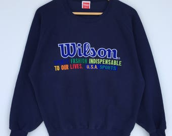 Vintage Wilson Embroidered spellout sweatshirt / Wilson pullover / colourful Medium size