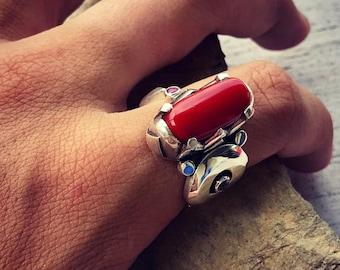 Sardinia Red Coral Ring. Silver 950. Aquamarine. Ruby. 9 1/4 US Size (n.1)