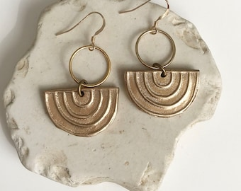 Arc Earrings / Bronze Half Circle Earrings