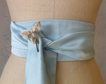 Wedding sash obi belt something blue satin bridal