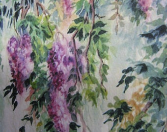 Wisteria Vines ACEO, Wisteria Vines Print, Watercolor print, 891 lavender, purple