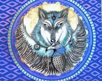 Vegan Wolf and Eagle Print*