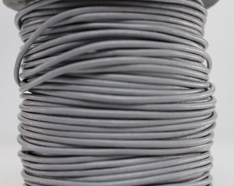 1 Meter of 2MM Silver Horizon Gray Round Leather Cord (1 yard) (1m)