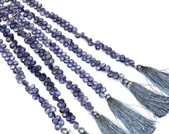 """Iolite faceted heart Briolette Beads,  6mm Heart, 8"""" inch Strand Beautiful, AAA Grade Natural iolite Gemstone Briolettes 