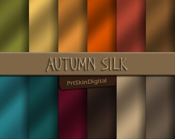 Autumn Silk Texture Digital Paper Pack in 12 Amazing Autumn Colors for scrapbook backgrounds, invitations, cards and crafts