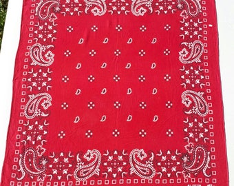 Vintage All Cotton Railroad Red Bandana Workwear RN13960