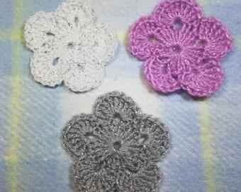 Flower crochet motif, set of 3 flowers, Crochet flower appliques, pink, white, gray, crochet flower set, embellishment applique flowers, diy