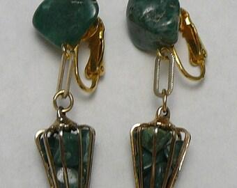 Green Stone Caged Earrings Vintage Dangle Cage Drop Earrings