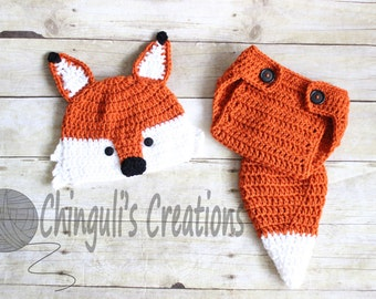 Crochet Fox Outfit Baby Girl Baby Boy Fox Hat and Diaper Cover newborn Fox Outfit Fox Set Fox Photo Prop