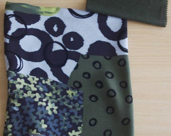 SET OF 2 COUPON FABRICS OF GREEN, BROWN, TAUPE FLORAL