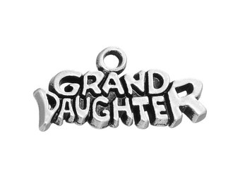 4 Granddaughter Charms, Antique Silver Tone (1K-136)