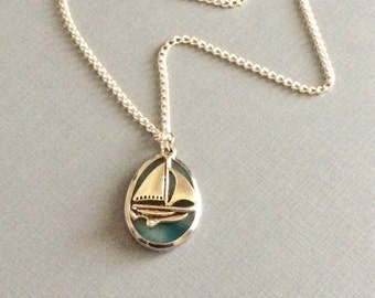Turquoise Stone Necklace with Sailboat Charm, Nautical Necklace, Nautical Jewelry, Sailboat Charms, yacht necklact, boat necklace