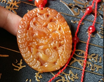 Free Shipping - Yulong natural jade dragon pendant, security and peace, I wish you good luck necklace / pendant