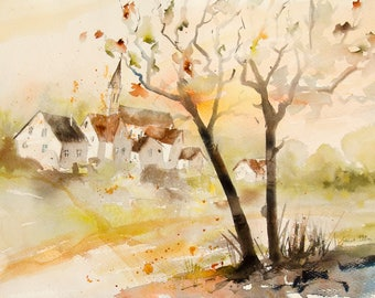 Original painting of French village in autumn with houses and church, Original watercolor,  french landscape - countryside  painting
