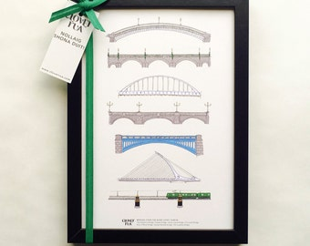 Framed Dublin Bridges - This is the Perfect Gift for Lovers of Dublin City