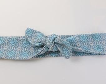 Light blue patterned Tie  headband