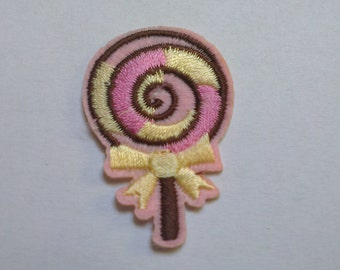 Mini Lollipop Iron on Applique, Cute Pink Lollipop Iron on Patch, Sweet Iron-on Application