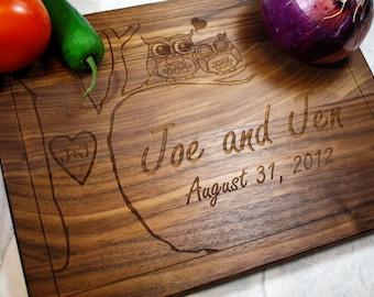 Personalized Cutting Board - Custom Wedding Gift - Owl Decor - Wooden Cutting Board - Personalized Gift - Anniversary - Fiance Gift