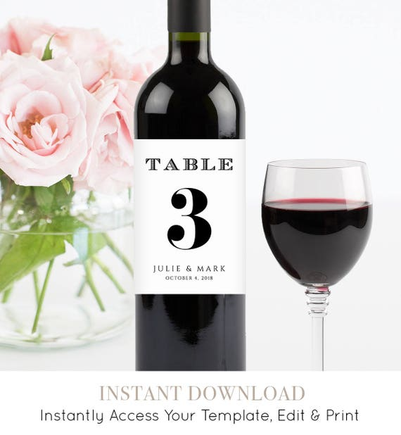 Wine Table Number, Wedding Table Number Template, Printable Wine Bottle Label, 100% Editable, Instant Download, Templett, DIY #NC-116TC
